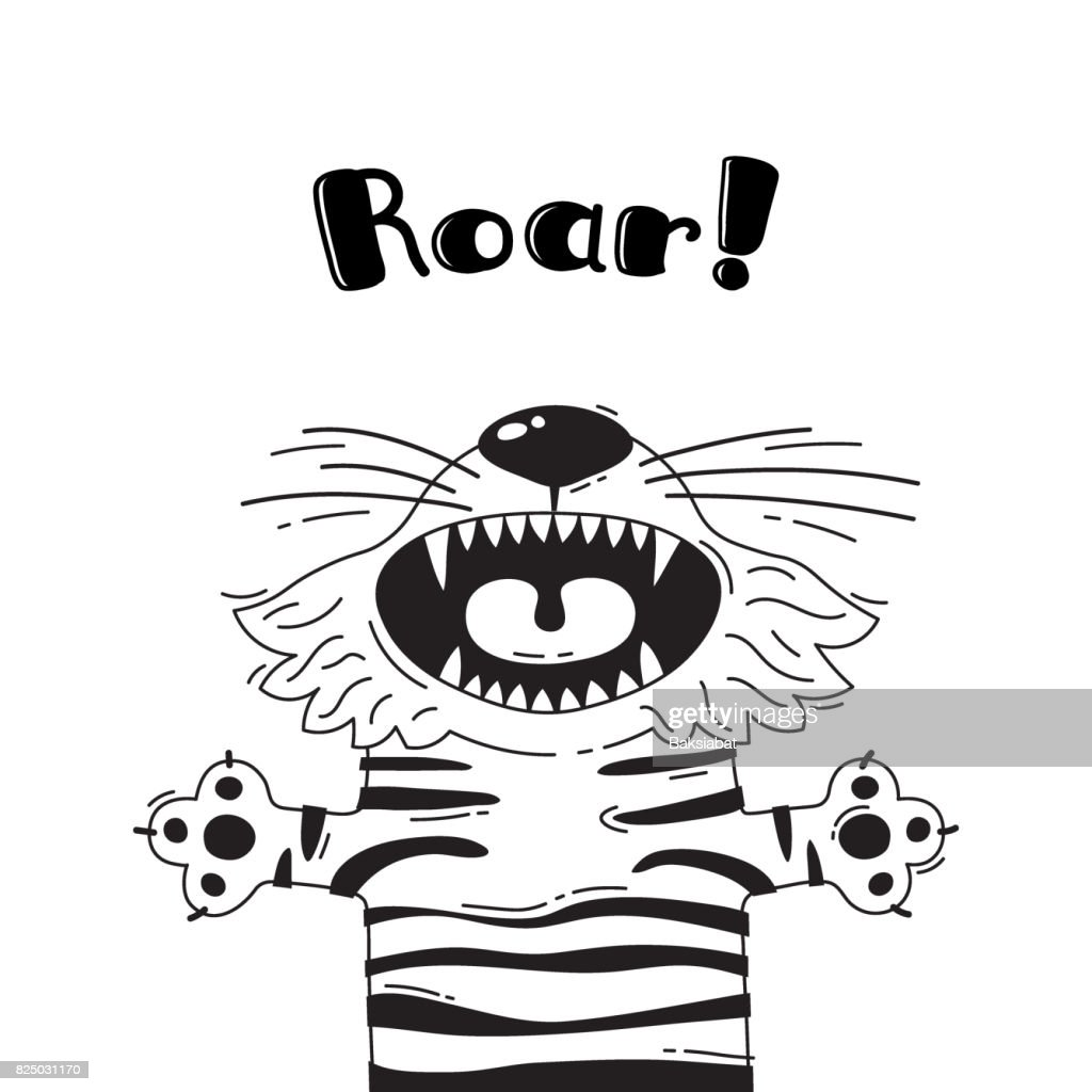 Illustration With Joyful Tiger Who Shouts Roar For Design Of