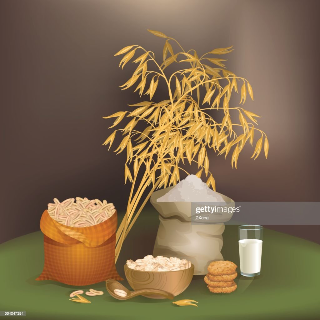 Illustration with oats foodstuff
