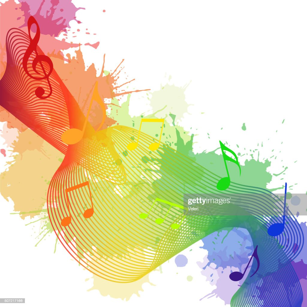 Illustration with rainbow musical notes, waves