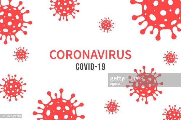 coronavirus, covid-19. illustration with red viral cells on white background - biohazardous substance stock illustrations
