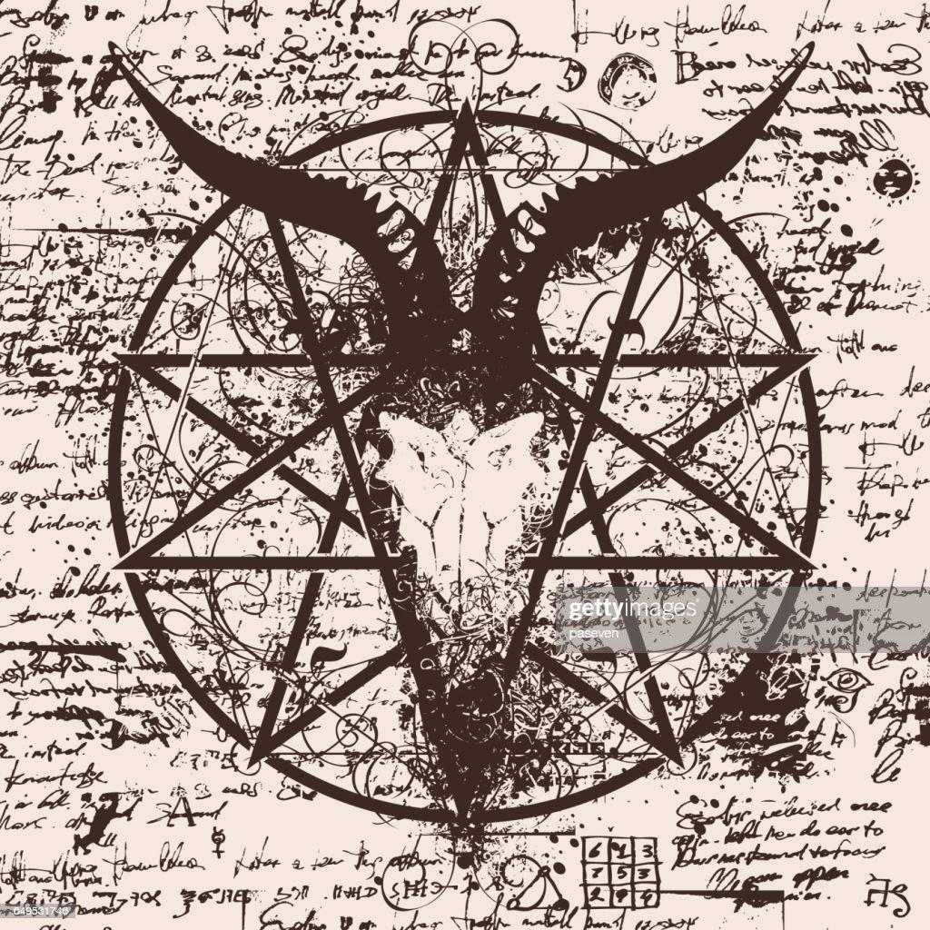 illustration with skull of goat and pentagram