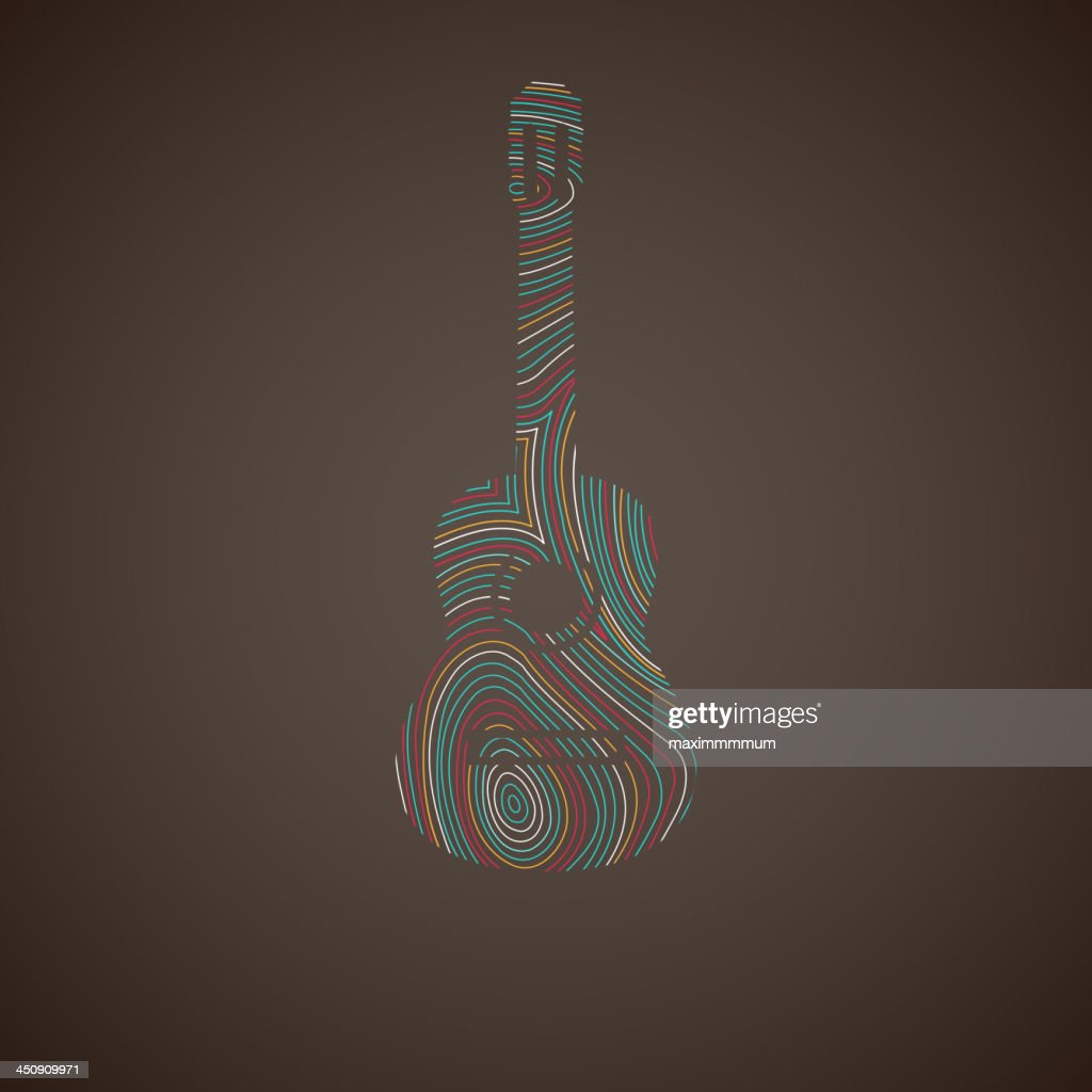 illustration with the multicolored guitar