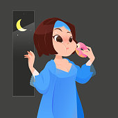 Illustration woman in blue nightgown eating donut in kitchen with window at night, Cartoon vector
