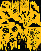Illustrations for Halloween Set On Yellow Background.