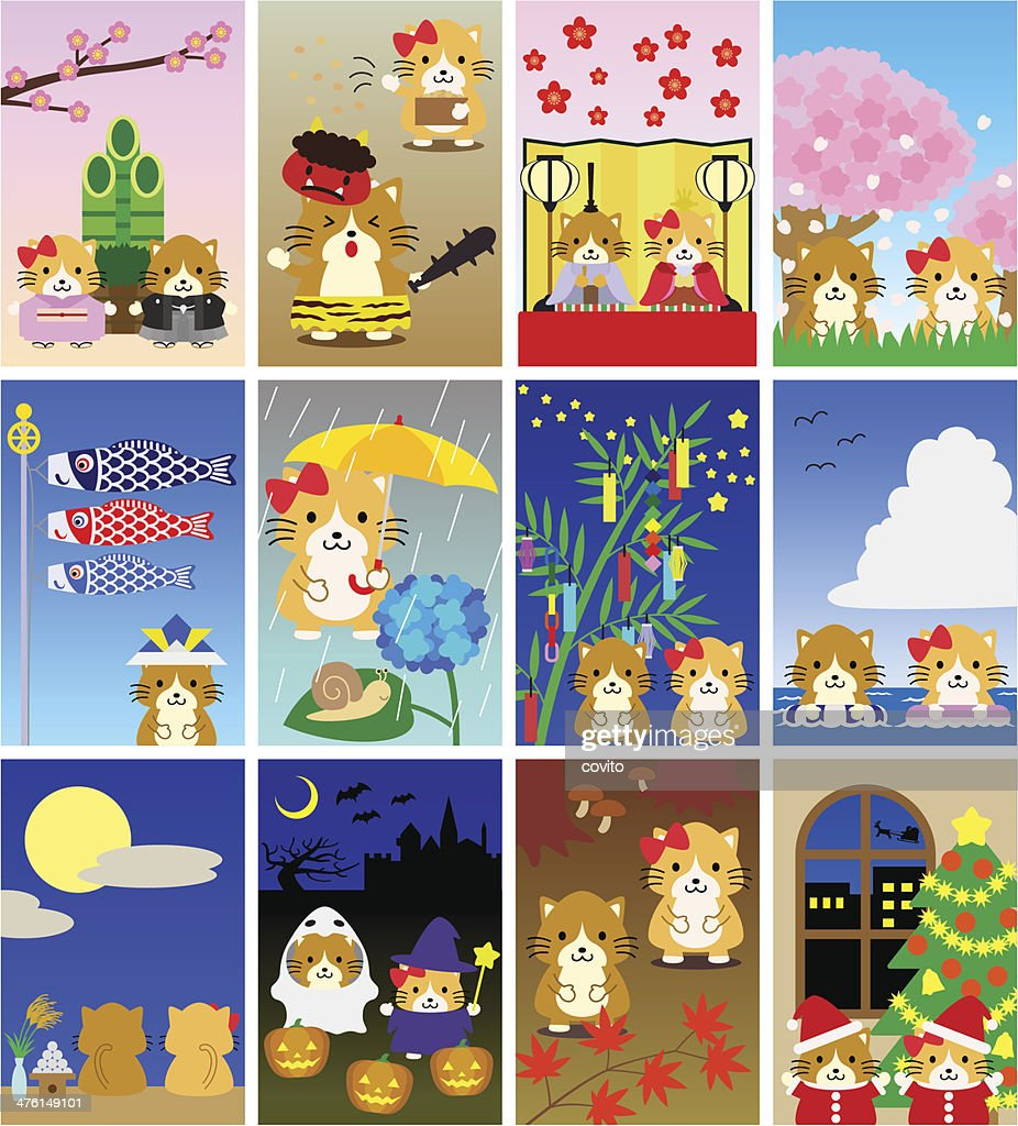 Illustrations for Japanese calendar (cats , portrait)