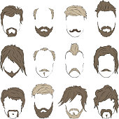 Illustrations hairstyles with a beard and mustache. stylish and fashionable