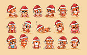 Illustrations isolated Emoji character cartoon Tiger cub sticker emoticons with