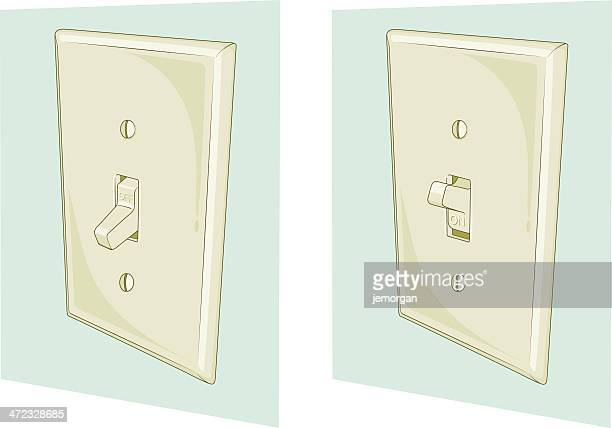 2 illustrations of a light switch at the on and off position - start button stock illustrations, clip art, cartoons, & icons
