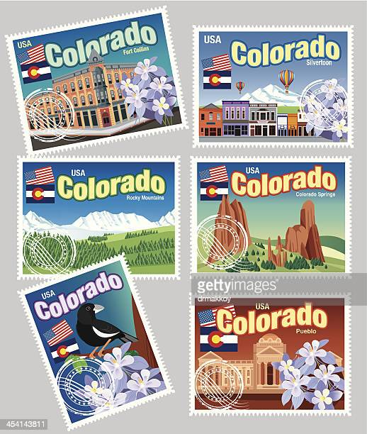 illustrations of a set of postal stamps for colorado state - colorido stock illustrations