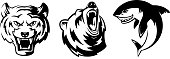Illustrations of animals for sport badges. Grizzly, tiger and shark. Vector labels set isolate