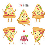 Illustrations of cute cartoon pizza slices.