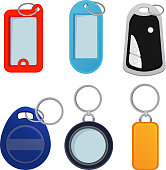 Illustrations of different keychains. Pictures in cartoon style