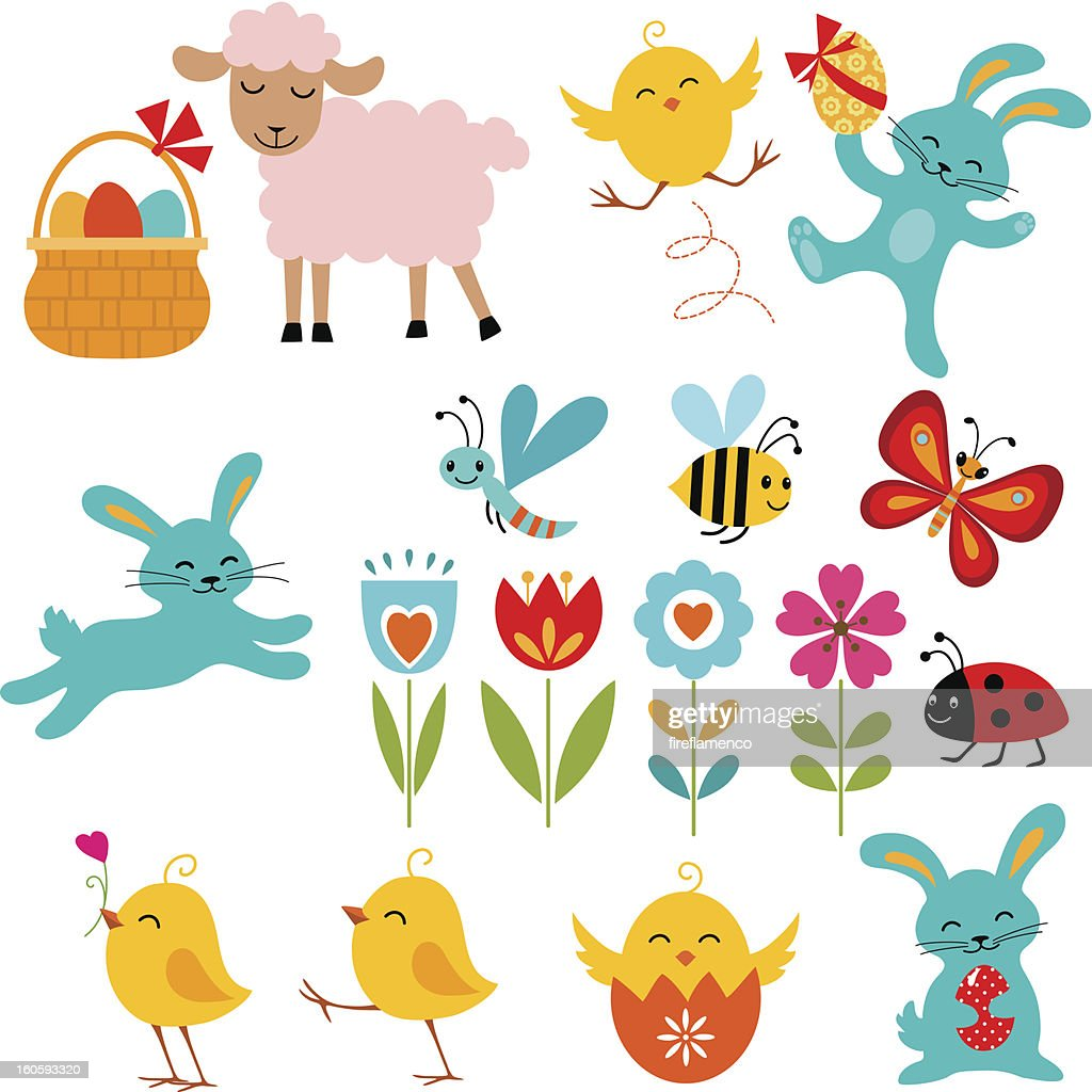 Illustrations of Easter themed cartoon elements