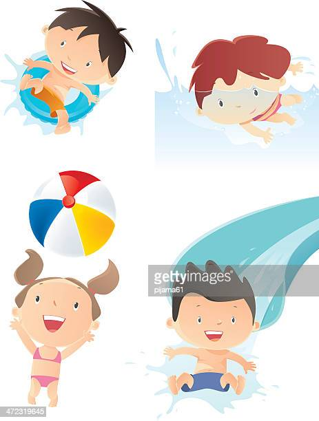 Illustrations of four kids playing in water themed pictures