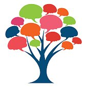 Illustrations of icons for knowledge tree, or related to media / forums / communities aimed at sharing insights