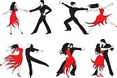 Illustrations of man and female salsa dancing