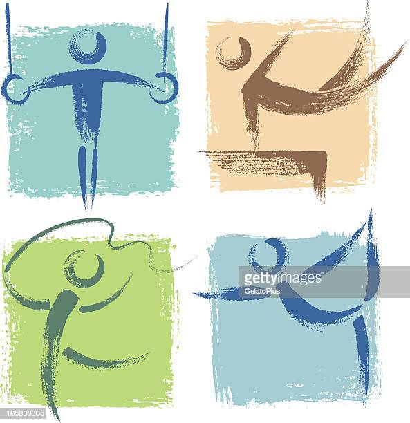 illustrations of many different sports icons - ribbon routine rhythmic gymnastics stock illustrations