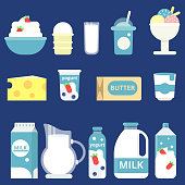 Illustrations of milk products. Cream, yogurt and cheese