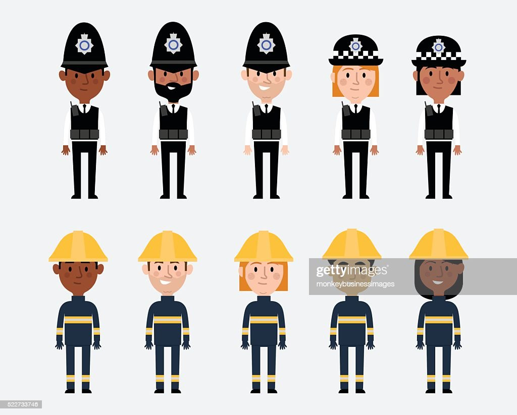 Illustrations Of Occupations In UK Police And Fire Services