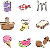 Illustrations of picnic food and drink