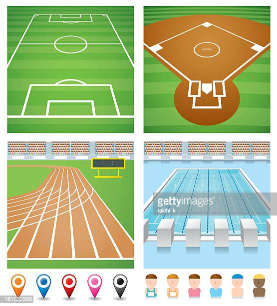 Illustrations of sport fields, track, pool and avatars
