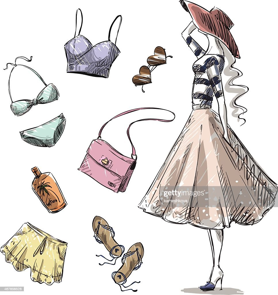 Illustrations of summer fashion clothing and accessories