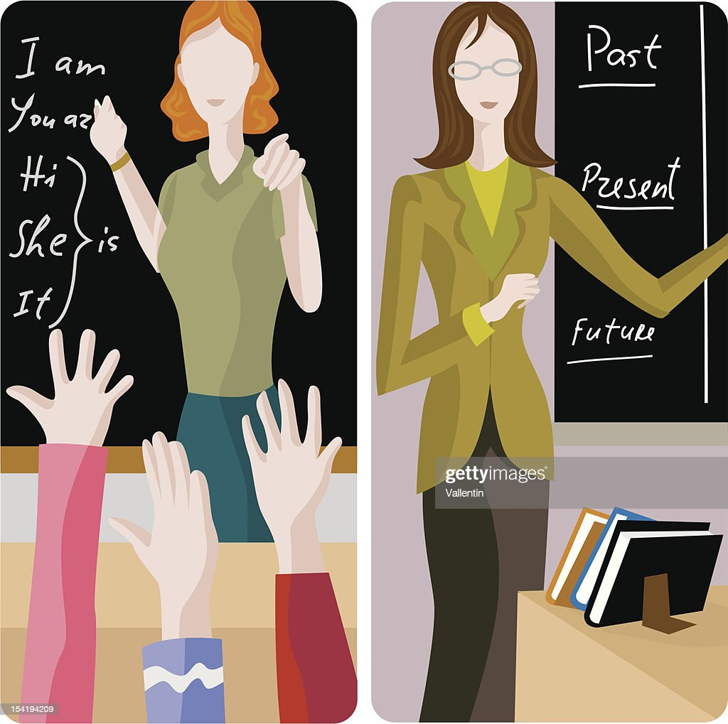 Illustrations of two teachers in a classroom setting