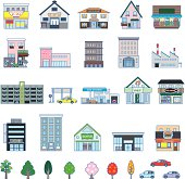 Illustrations of various building types