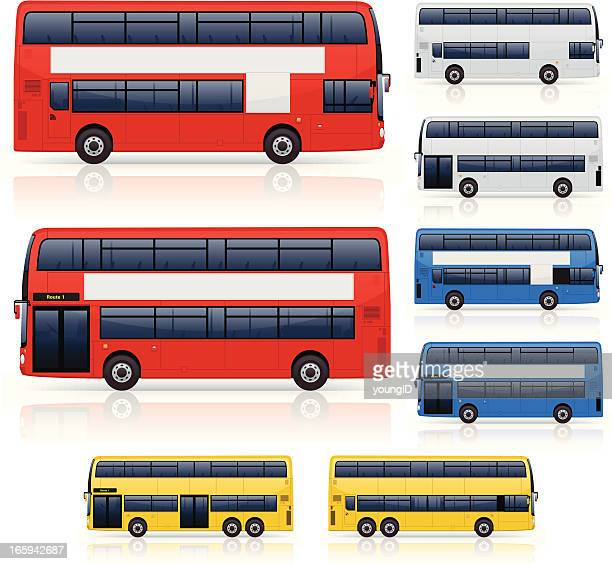 Illustrations of various colors, sizes of double decker bus