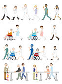 Illustrations of various people / Medical