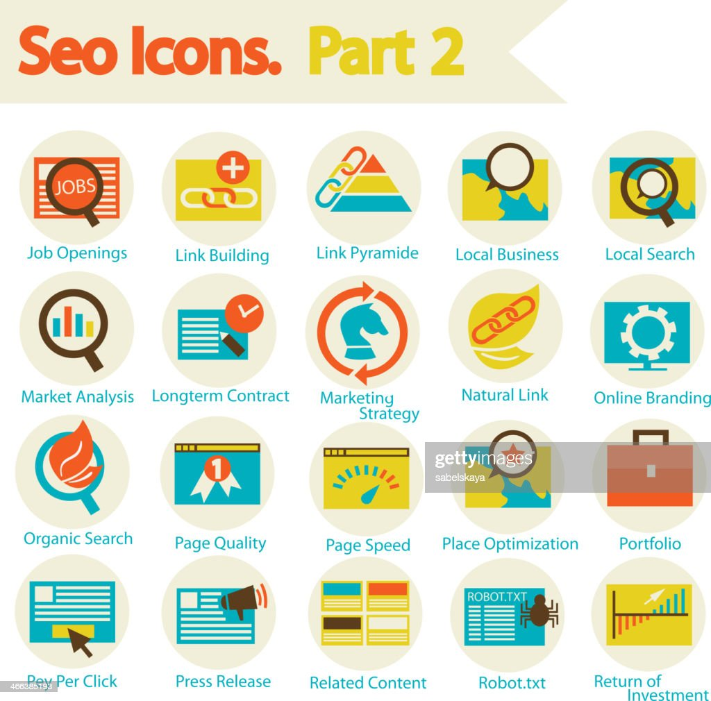 Illustrations of various SEO icons