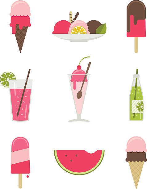illustrations of various summertime desserts - ice cream stock illustrations