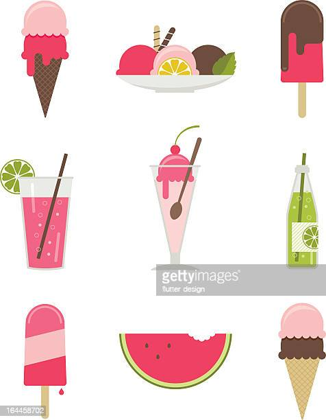 illustrations of various summertime desserts - flavored ice stock illustrations, clip art, cartoons, & icons
