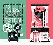 Illustrations on retro movie cinema festival and motion picture admission