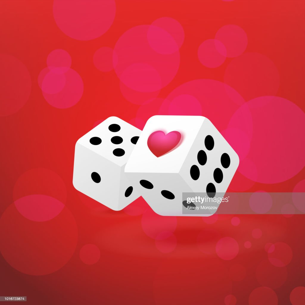Illustrations with Couple of Dice with Heart Symbol on passionate red background