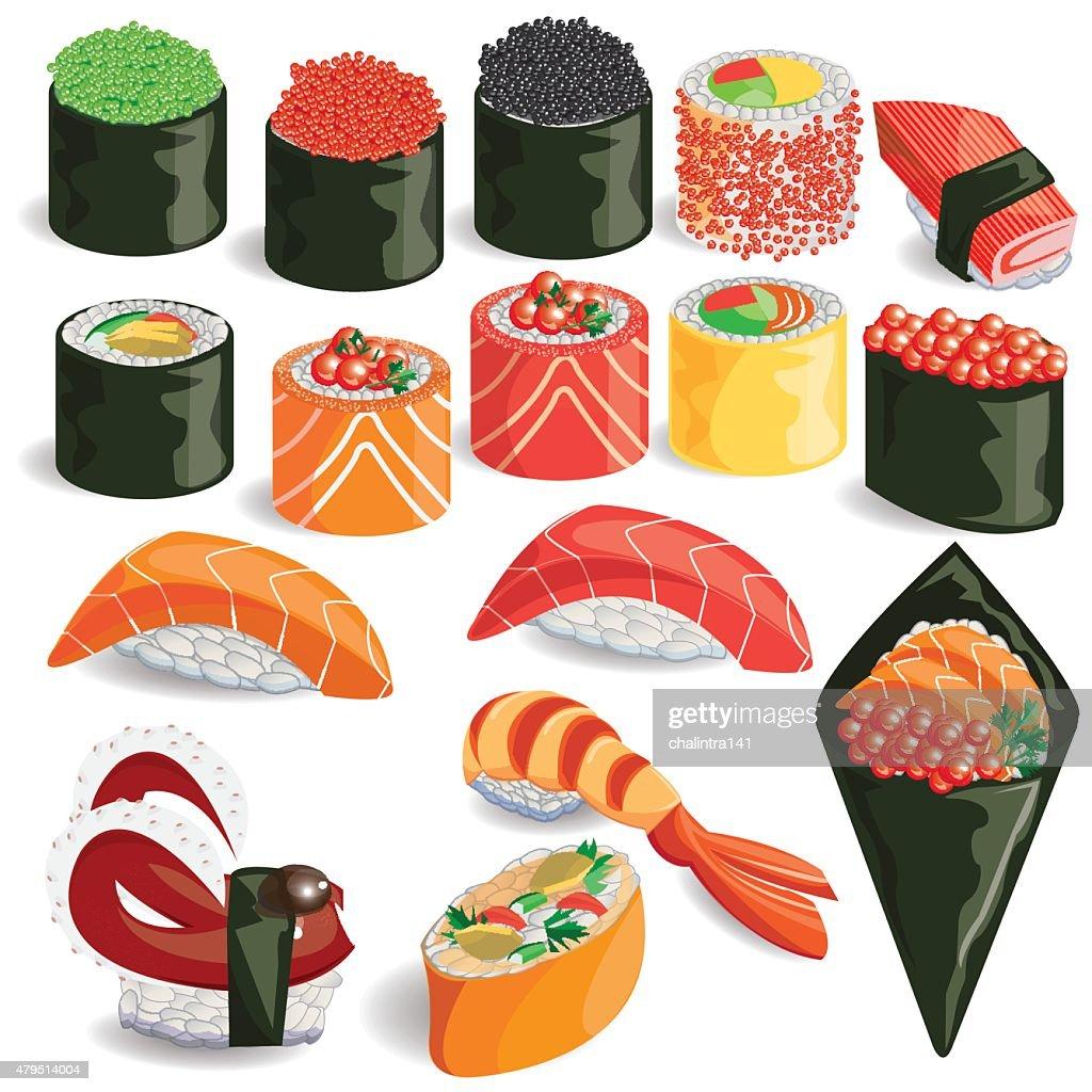 illustration,sushi colorful.