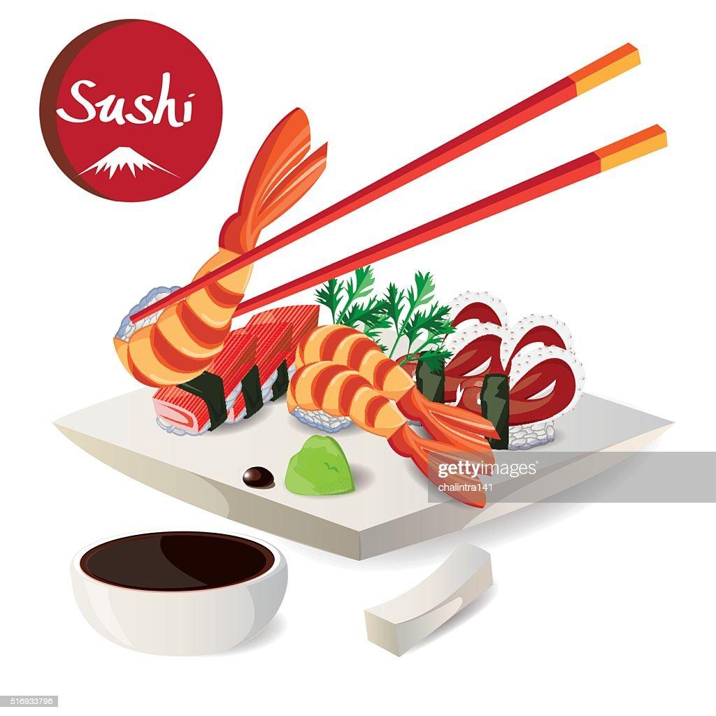 illustration,sushi in dish colorful