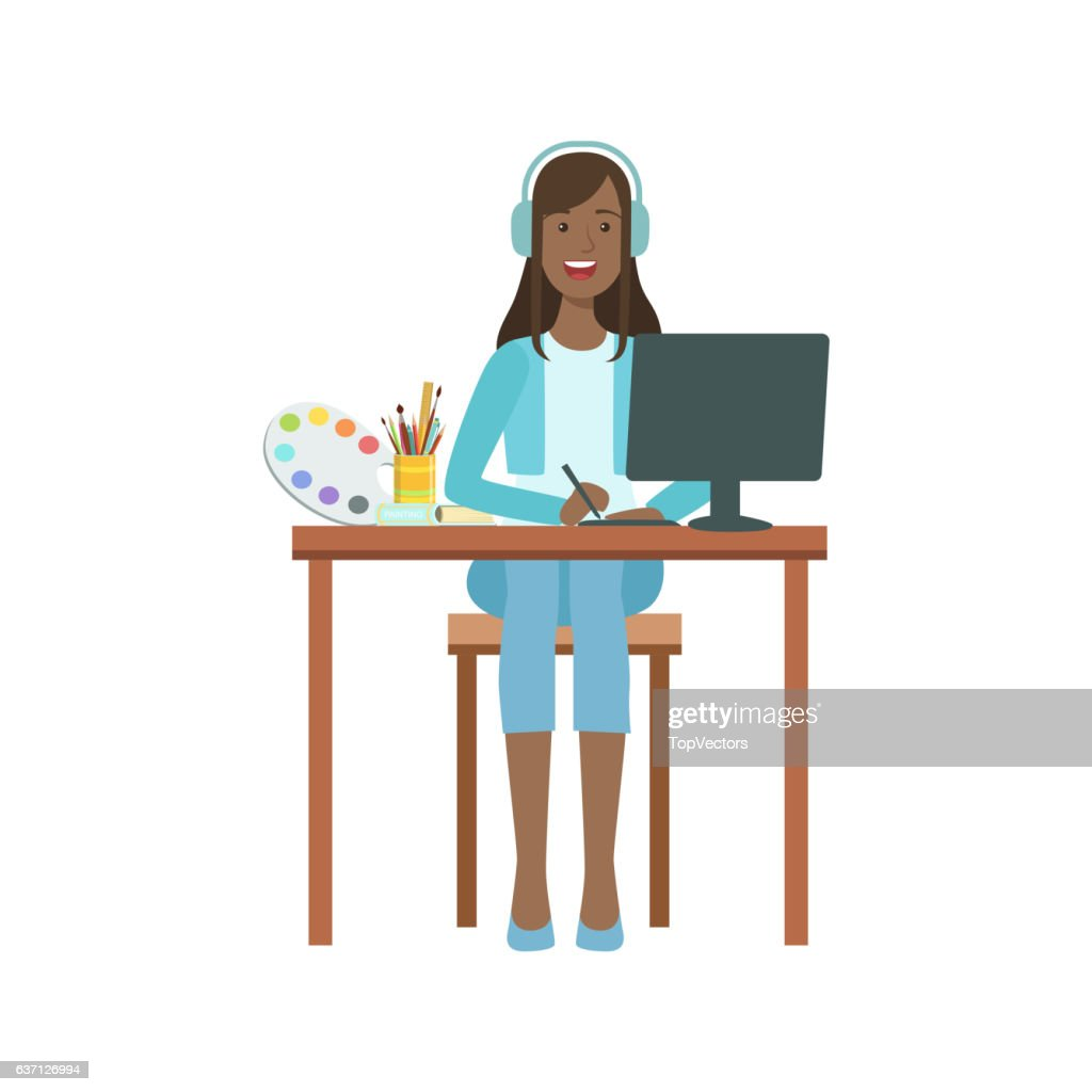 Illustrator Drawing With Computer Devices, Creative Person Illustration