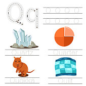 Illustrator of Worksheet for children q font