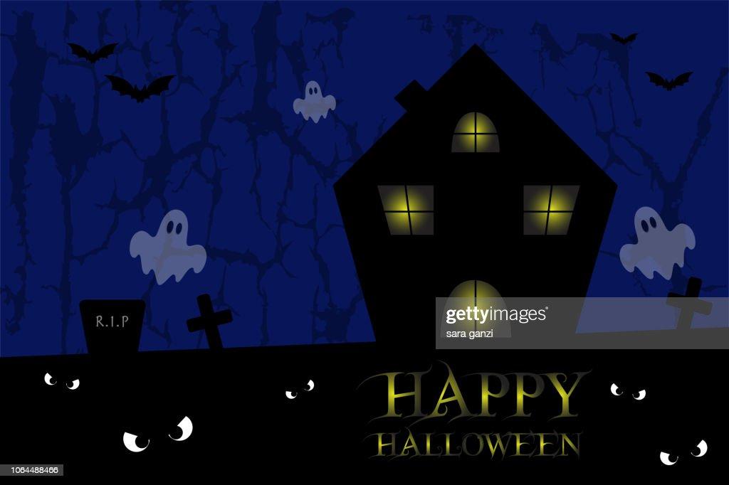 Illustrazione casa spettrale, Vettoriale Halloween