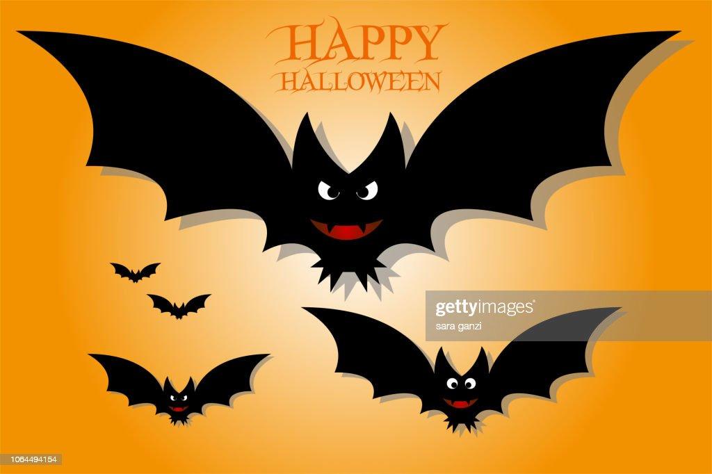 Illustrazione di pipistrelli che volano, Vettoriale Halloween