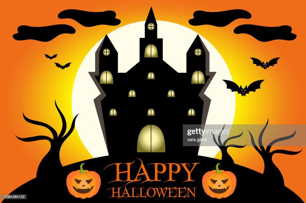 Illustrazione di un castello spettrale di Halloween, Vettoriale Halloween
