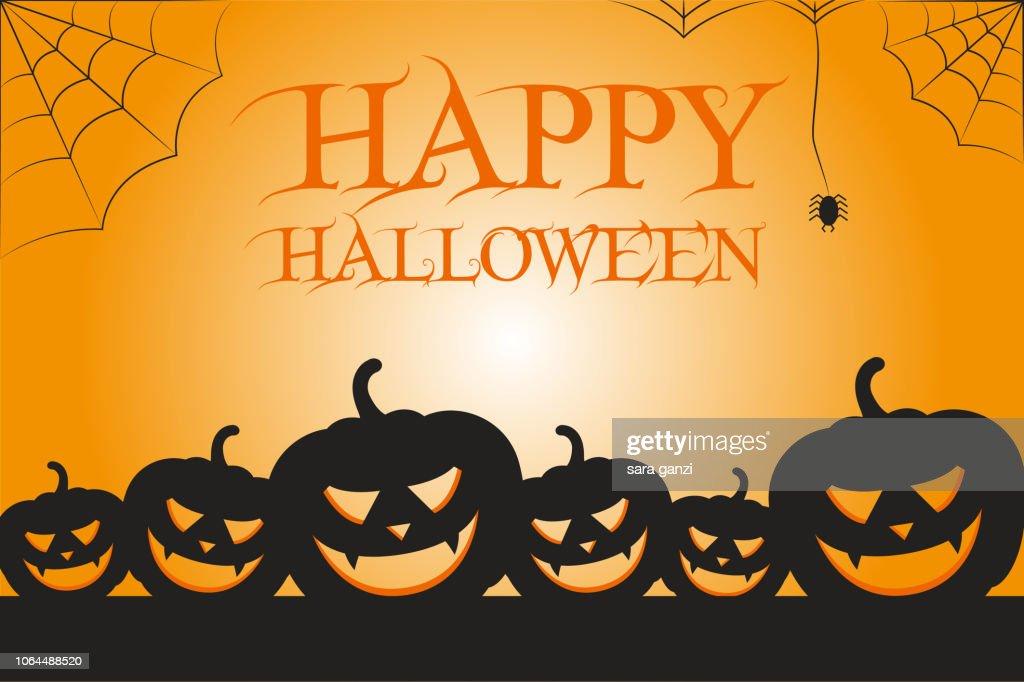 Illustrazione zucche con testo Happy Halloween, Vettoriale Halloween