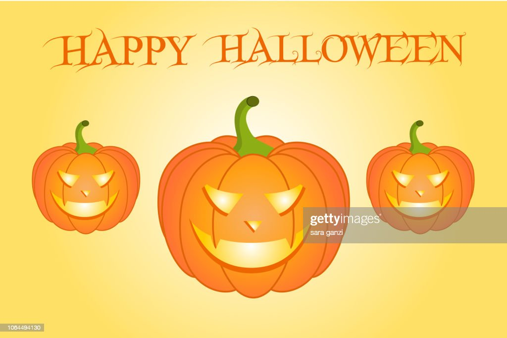 Illustrazione zucche spettrali e luminose, Vettoriale Halloween