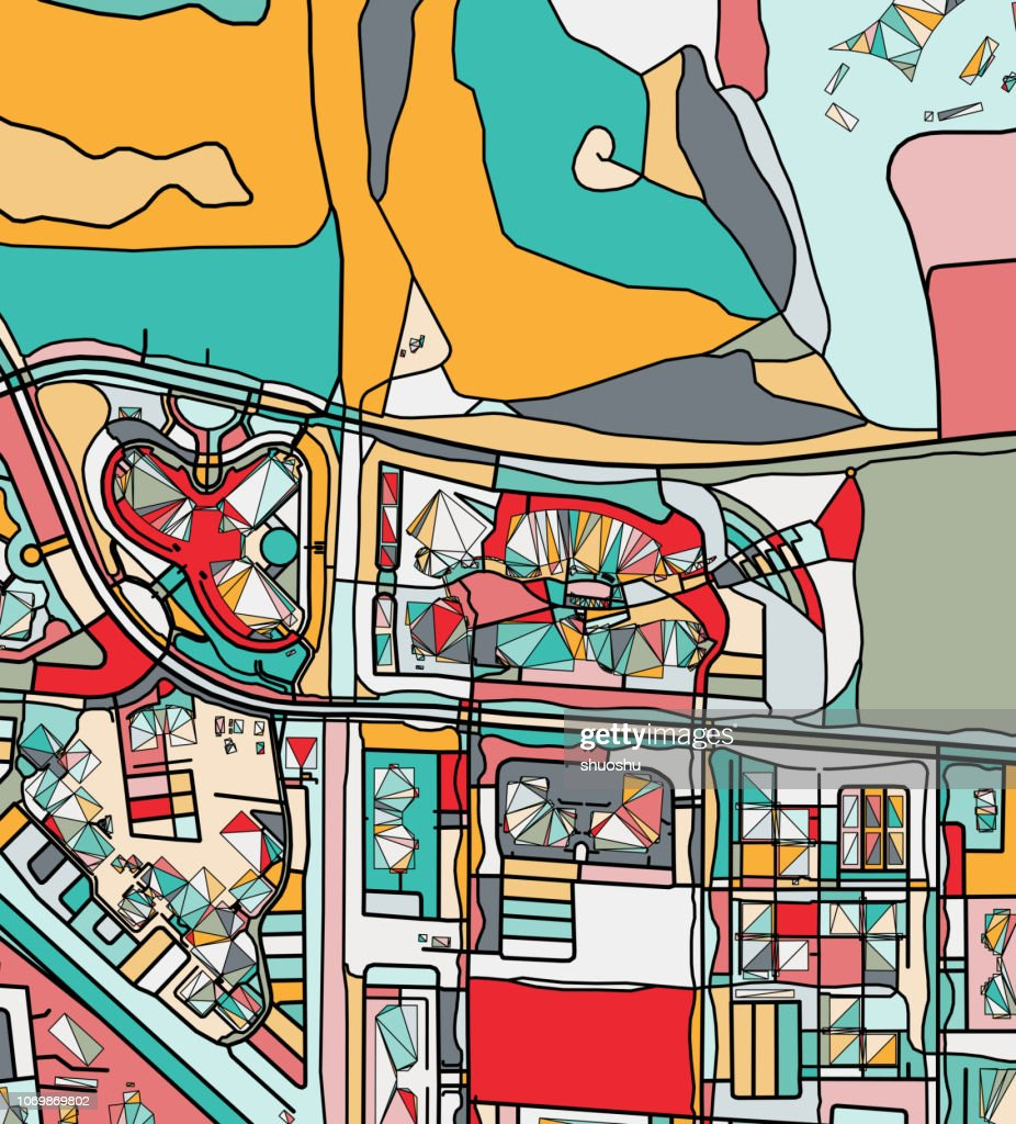 ilustration of Mountain view city art map