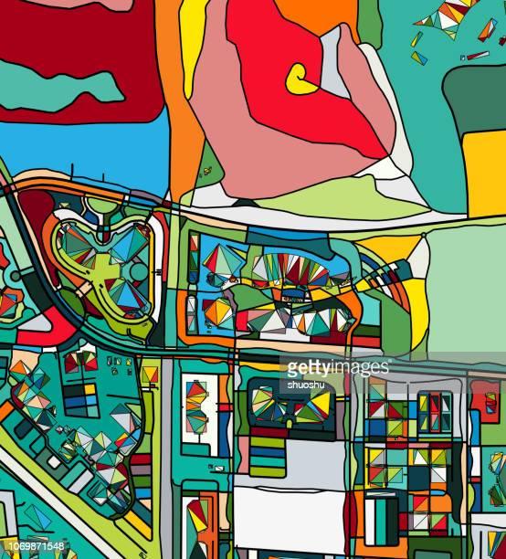 stockillustraties, clipart, cartoons en iconen met ilustration van de plattegrond van de kunst van de stad van mountain view - birthplace of silicon valley