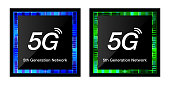 5G image concept vector illustration material, Mobile technology 5G CPU chip design icons