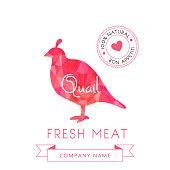 Image meat symbol quail silhouettes of animal for design menus