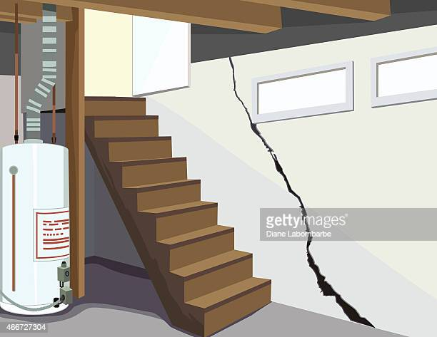 image of a basement water tank and cracked foundation - foundation stock illustrations, clip art, cartoons, & icons