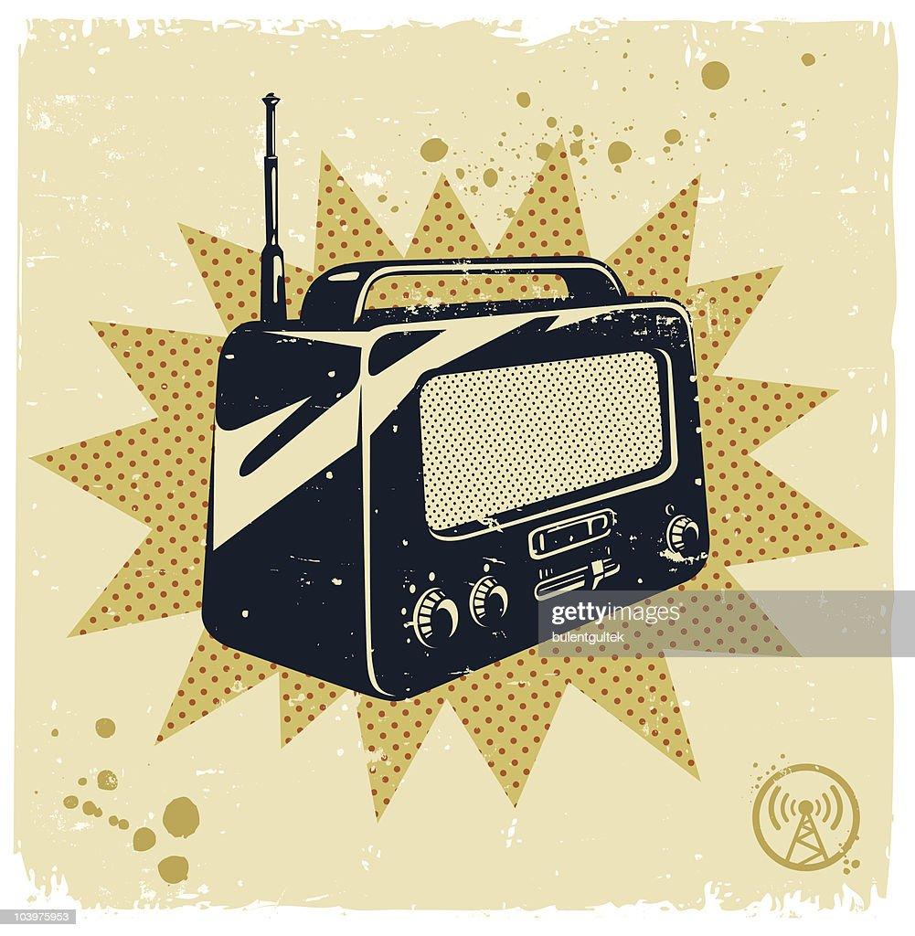 Image of a black and white retro radio